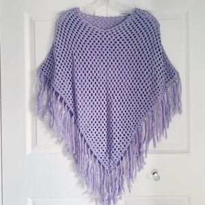 Pastel Purple Crocheted Knit Poncho Sweater
